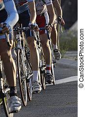 ruote, durante, uno, ciclismo, corsa