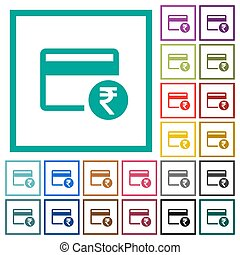Rupee credit card flat color icons with quadrant frames on...