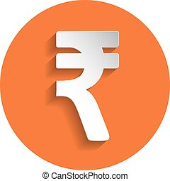 Rupee icon, paper style