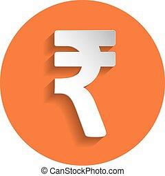 Rupee icon, paper style