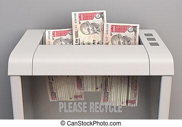 Rupee In Shredder - A regular office paper shredder in the ...