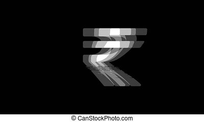Rupee Indian Currency icon Vintage Twitched Bad Signal Animation.