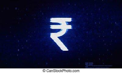 Rupee Indian Currency Symbol Digital Pixel Noise Error Animation.