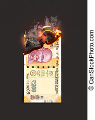 Rupee Note Burning - A concept image showing a half burnt ...