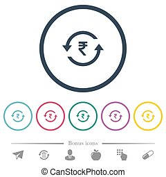 Rupee pay back flat color icons in round outlines. 6 bonus...