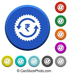 Rupee pay back guarantee sticker beveled buttons