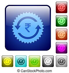 Rupee pay back guarantee sticker color square buttons