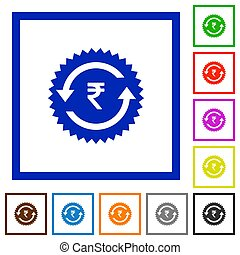 Rupee pay back guarantee sticker flat framed icons - Rupee...