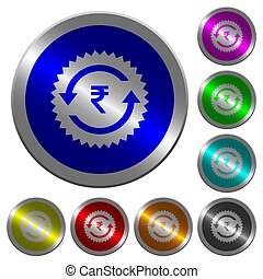 Rupee pay back guarantee sticker luminous coin-like round color buttons