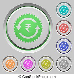 Rupee pay back guarantee sticker push buttons