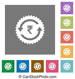 Rupee pay back guarantee sticker square flat icons