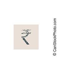 Rupee Symbol. Grunge Style Icon.