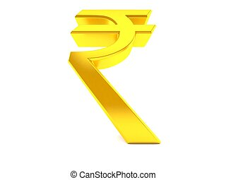 Rupee symbol in low angle isolated on white background. 3d ...