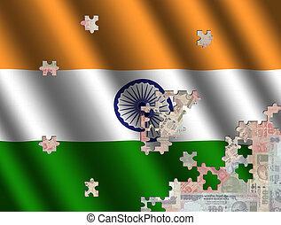 rupees, encima, bandera, rompecabezas, indio