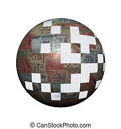rupees, esfera, pedazos, indio, perdido
