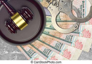 rupees, impôt, procès, police, marteau, lankan, action éviter, judiciaire, menottes, juge, tribunal, ou, bribery., factures, desk., sri, 1000, concept