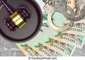 rupees, judiciaire, concept, police, juge évaluation, factures, impôt, ou, tribunal, lankan, 10, menottes, marteau, sri, bribery., desk., action éviter