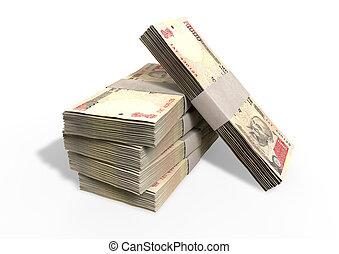 rupia, indiano, mucchio, note
