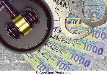 rupiah, desk., action éviter, indonésien, factures, impôt, menottes, concept, procès, bribery., juge cour, judiciaire, 1000, marteau, ou, police