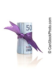Rupiah - Indonesian Money with purple tape on white