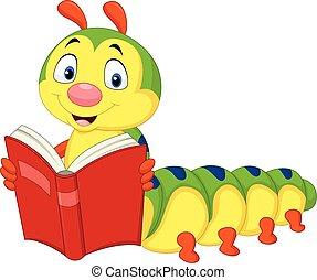 rups, boek, lezende , spotprent