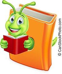 rups, boek, worm, boekenworm, lezende