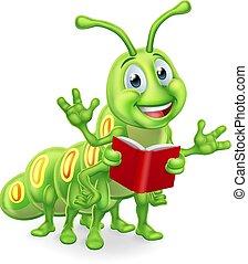 rups, lezende , worm, boekenworm