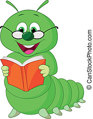 rups, spotprent, boek, lezende