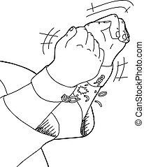 rupture, chaînes, contour, mains
