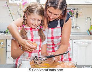 rupture, fille, oeufs, cuisine, ensemble, quoique, mère, cuisine