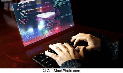 rupture, hologramme, sécurité, pirate informatique, clavier, code, dactylographie, écran
