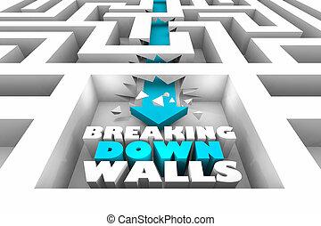 rupture, illustration, bas, murs, par, flèche, barrières, labyrinthe, 3d