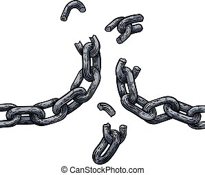rupture, liens, liberté, chaîne, conception