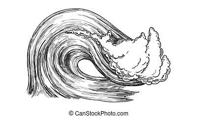 rupture, océan, vecteur, atlantique, orage, vague, marin