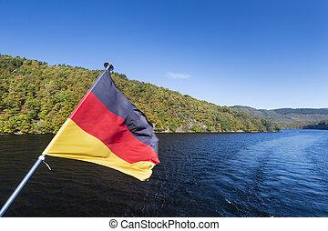 rur, drapeau allemand, lac