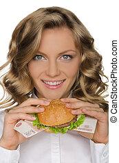 rur, mujer, hamburguesa, joven