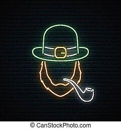 rura, palenie, poznaczcie., neon, irishman