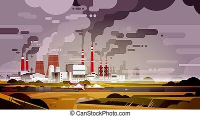 rura, roślina, natura, powietrze, woda, brudny, tracić, zanieczyszczony, środowisko, skażenie