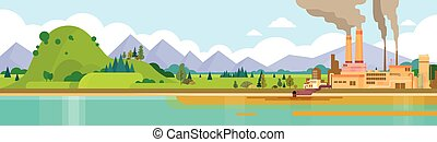 rura, roślina, natura, powietrze, woda, zielony, brudny, dym, tracić, chorągiew, środowisko, skażenie