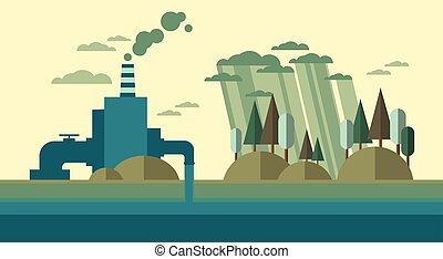 rura, roślina, natura, zanieczyszczony, woda, brudny, tracić, środowisko, skażenie