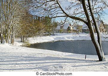 rural, étang, paysage neige, automne