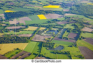 rural, aéreo, bremen, paisagem