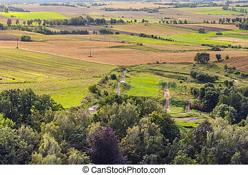 rural, aérien, vue