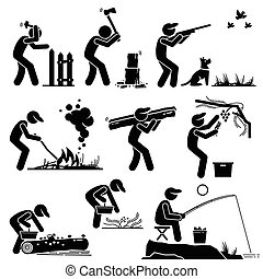 Set of vector stick man pictogram representing man living in a rural area by building his own house, chopping woods, hunting, fishing, and gathering fruits and herbs from the forest so that he can survive and lives on.