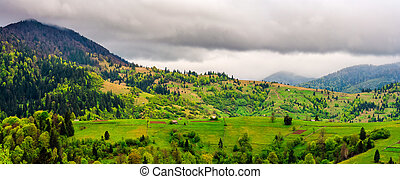 rural area in mountains on overcast day. woodsheds, fences...