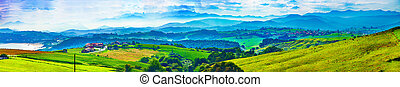 Rural areas of Cantabria,Spain - Scenic landscape of green ...
