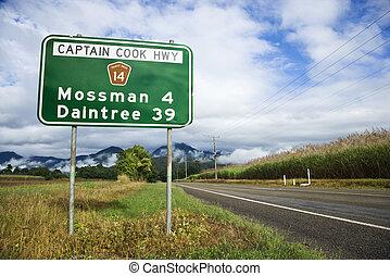 rural, australia, carretera