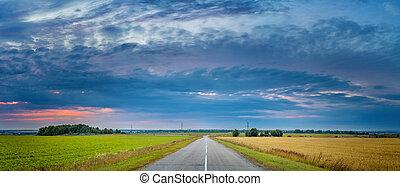 Rural autumn landscape at sunset - Autumn farmland landscape...