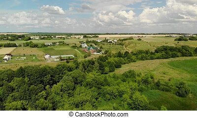 Rural autumn landscape from height in Russia, forward...