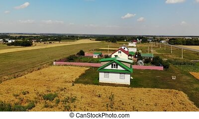 Rural autumn landscape from height in Russia. Upward...